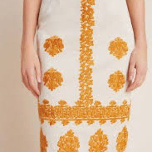 Anthropologie Embroidered Pencil Midi Skirt